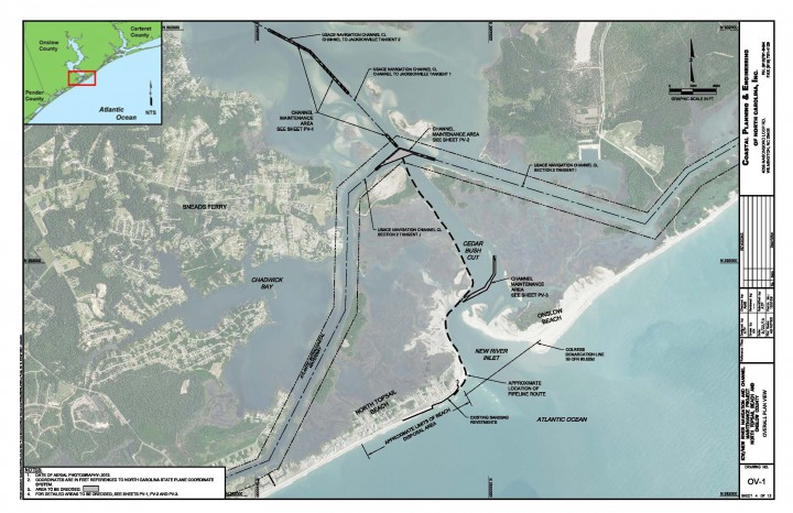 The dredging will take place in the Intracoastal Waterway in New River, including the channel crossing and Cedar Bush Cut. Image: North Topsail Beach
