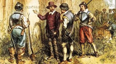 """Gov. John White returned to the Roanoke colony to discover the only clue, the word """"Croatan"""" carved into a tree."""
