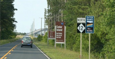 National byway signs are going up on N.C. 12 in eastern Carteret County. Photo: Outer Banks Scenic Byway Committee