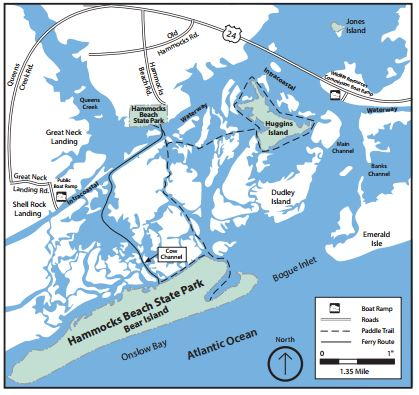 County officials and others want to see a boat-launch facility at Hammocks Beach State Park but many worry about the effects. Map: N.C. Park Service