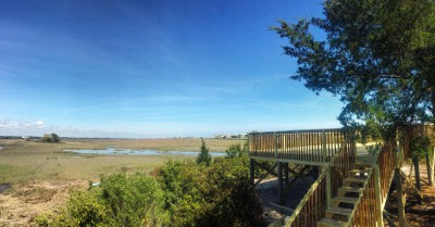 This observation deck is connected to a nature trail that includes a series of elevated board walks and natural trails under construction as part of a development at the east end of Sunset Beach in Brunswick County. Photo: courtesy Sammy Varnum