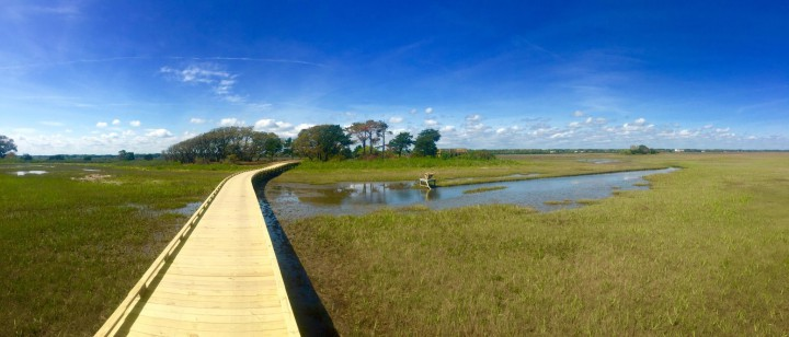 This boardwalk is one of a series of elevated wooden walkways that make up a nature trail under construction as part of a development at the east end of Sunset Beach. Photo: Courtesy Sammy Varnum.