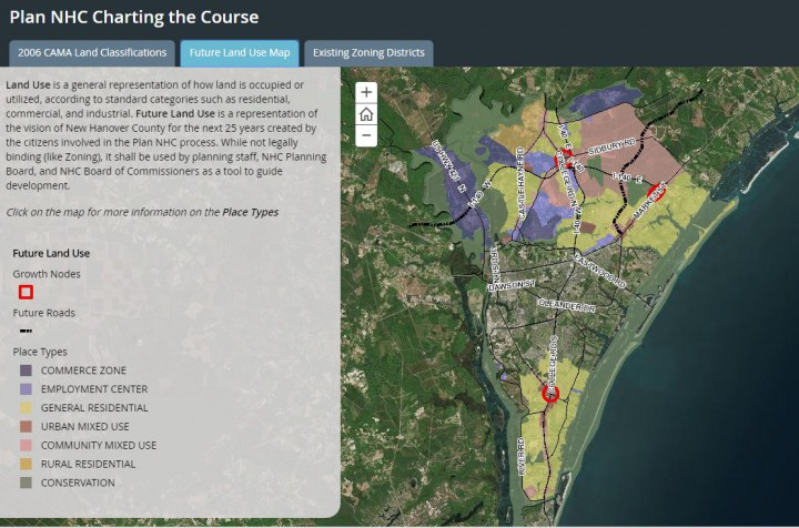 The New Hanover County comprehensive plan, which is still in the works, looks at existing and future land uses. Map: New Hanover County