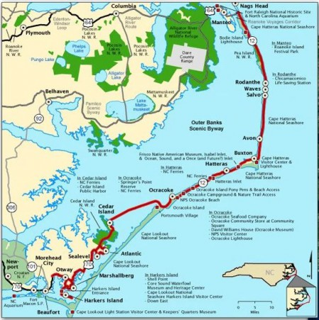 The Outer Banks Byway starts at N.C. 12 and U.S. 64 at the northern end of the Outer Banks in Dare County, continues along N.C. 12 south to Ocracoke in Hyde County and ends at the Merrimon Road-U.S. 70 intersection in Carteret County. Map:
