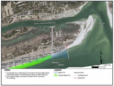 Ocean Isle Beach officials say the planned terminal groin would eliminate long-term erosion damage to existing development on the east end of town. Image: Corps of Engineers
