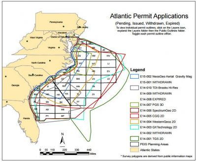 Eight applications to conduct seismic testing are winding through the federal permitting process. Map: BOEM