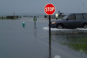 A king tide flooded streets in Morehead City. Photo: NOAA