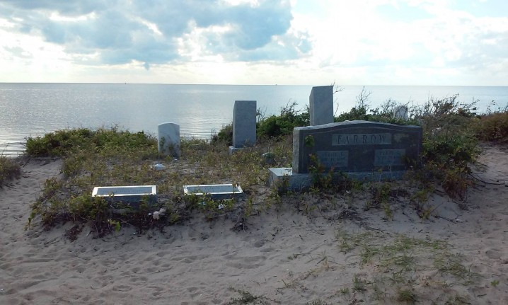 The Midgett Cemetery occupies a picturesque by vulnerable site on Hatteras Island. Photo: Kay Midgett Sheppard