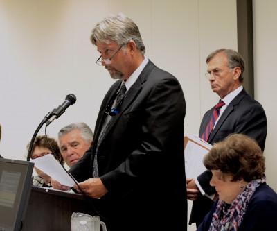 Developer Sammy Varnam of Brunswick County speaks during the hearing. Photo: Kirk Ross
