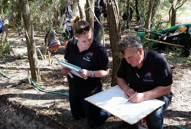 Archaeologist Mark Horton, right, confers with dig manager Charlie Goudge. Photo: Croatoan Archaeology Society