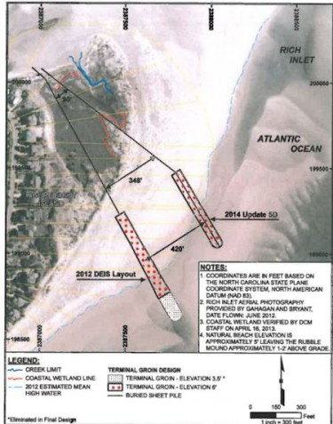 The Figure Eight Homeowners' Association now wants to build a terminal groin more than 400 feet farther north than originally proposed. Illustration: Army Corps of Engineers
