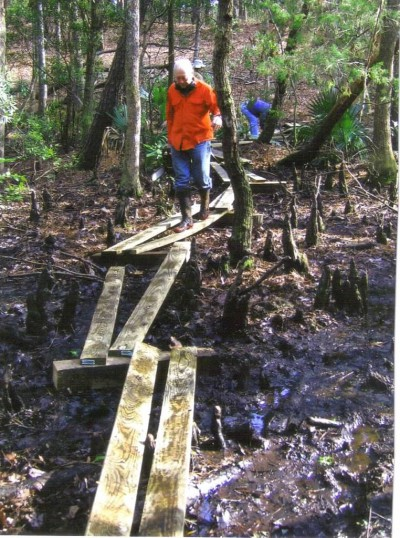 Chainsaw in hand, Gene Hunstman attends to a trail. Photo; Carteret Wildlife Club