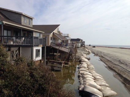 """Ocean Isle earlier this year mailed out requests for 50 property easements it needs to access the construction site for the terminal groin and for future sand nourishment projects associated with the structure. Photo"""" N.C. Coastal Federation"""