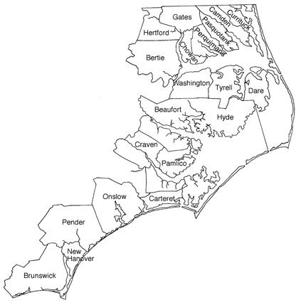 Twenty counties are covered by the Coastal Area Management Act. Map: Division of Coastal Management
