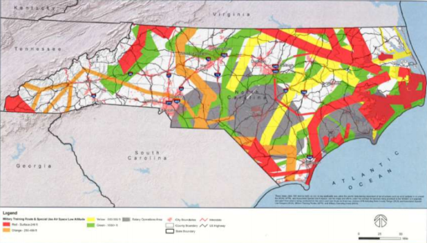 This is the map that accompanied House Bill 763. Wind farms would be prohibited in every color, except white. Map: N.C. General Assembly
