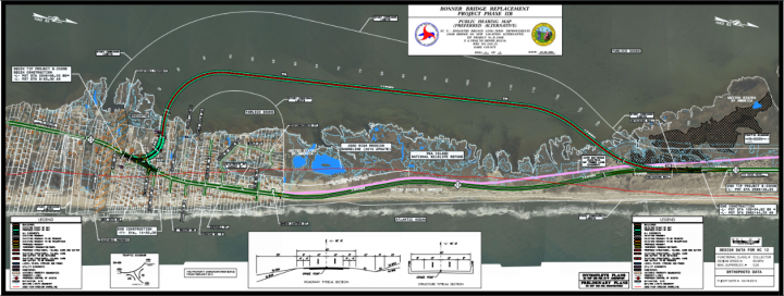 """The North Carolina Department of Transportation's preferred plan is to elevate this portion of N.C. 12 onto a 2.4-mile bridge – known as a """"jug handle"""" – that extends from the southern end of the Pea Island National Wildlife Refuge over the Pamlico Sound into Rodanthe. Photo: NCDOT"""