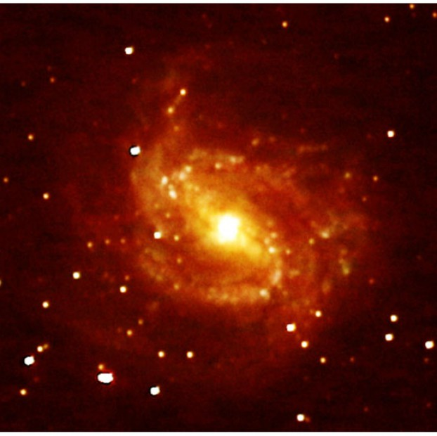 Messier 83, also known as the Southern Pinwheel Galaxy, is about 15 million light-years away. You can see it through binoculars but its proximity to the southern horizon can make it difficult to spot and identify, even using a telescope. Its visual magnitude is 7.5.
