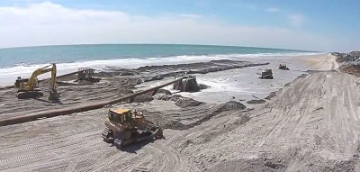 A beach re-nourishment project widen the beach at North Topsail in 2015. Photo: North Topsail Beach
