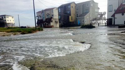 Flooding plagues the north end of the island. Photo: WNCT-TV