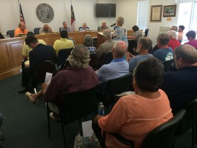 More than 50 people attended the special meeting. Most of those who spoke opposed the de-annexation of the property. Photo: Mark Hibbs