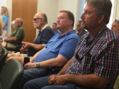 Greg Gore, left in blue shirt, and Sammy Varnam attended the meeting, Photo: Mark Hibbs