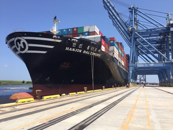 The Hanjin Baltimore, measuring 984 feet in length and 140 feet in width, was the first post-Panamax ship to call at the N.C. Port of Wilmington, arriving in June. Photo: N.C. Ports
