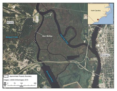 The Kerr-McGee site is shown in Navassa, a town in Brunswick County just across the Cape Fear and Brunswick rivers from downtown Wilmington. Map: National Oceanic and Atmospheric Administration