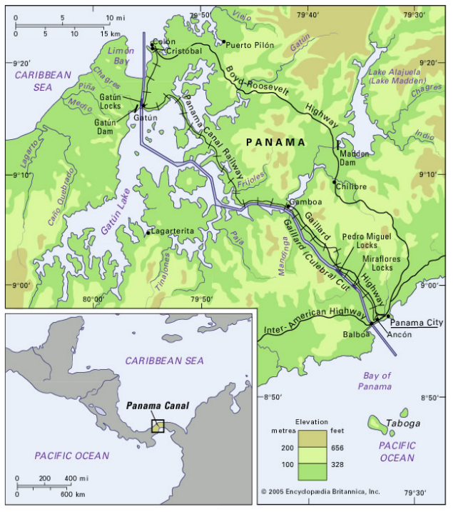 Since opening in 1914, the Panama Canal has linked ship traffic between the Pacific and Atlantic oceans. The expansion of the man-made canal was completed in June. Source: Army Corps of Engineers