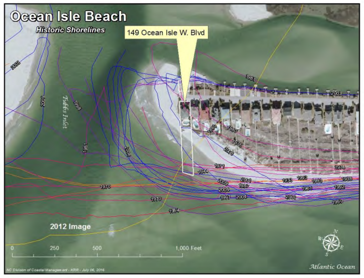 All those colored squiggly lines mark the regression and buildup of Tubbs Inlet over time. Such volatility may make inlets hazardous places to build a home. Photo: N.C. Division of Coastal Management