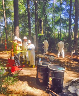 Contractors test for creosote contamination in Navassa. Photo: Greenfield Environmental Multistate Trust