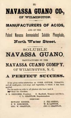 This advertisement for the Navassa Guano Co. appeared in Haddock's Wilmington, N.C., Directory, and General Advertiser of 1871. Image: University of North Carolina at Chapel Hill