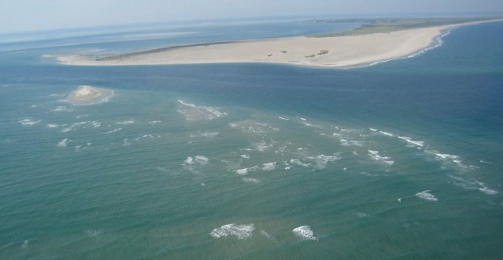 This is a portion of Diamond Shoals off Cape Hatteras in 2009. The shoal and the others extending the coasts two other capes are great repositories of sand. A bill in the legislature targets that sand for beach re-nourishment projects. Photo: Panoramio