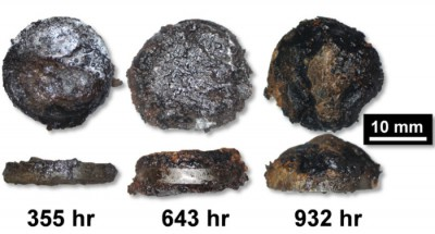 Optical micrographs of severe corrosion on steel alloy samples exposed to ethanol and acetic acid vapors -- conditions typical of underground gas storage tanks -- after 355 hours, 643 hours, and 932 hours. Photo: Science Dialy