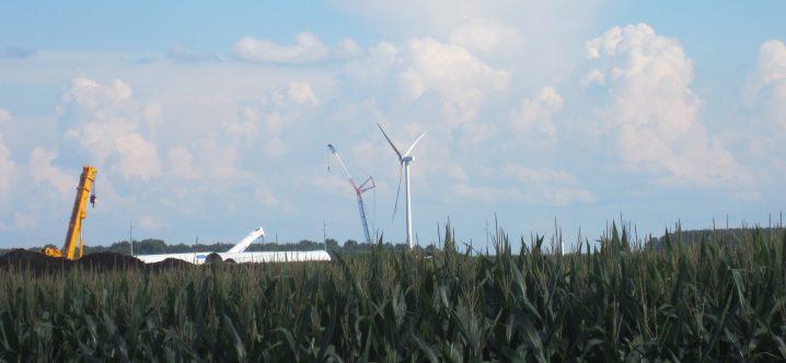 The first turbine irises into the air at the Amazon Wind Farm, Photo: Catherine Kozak.