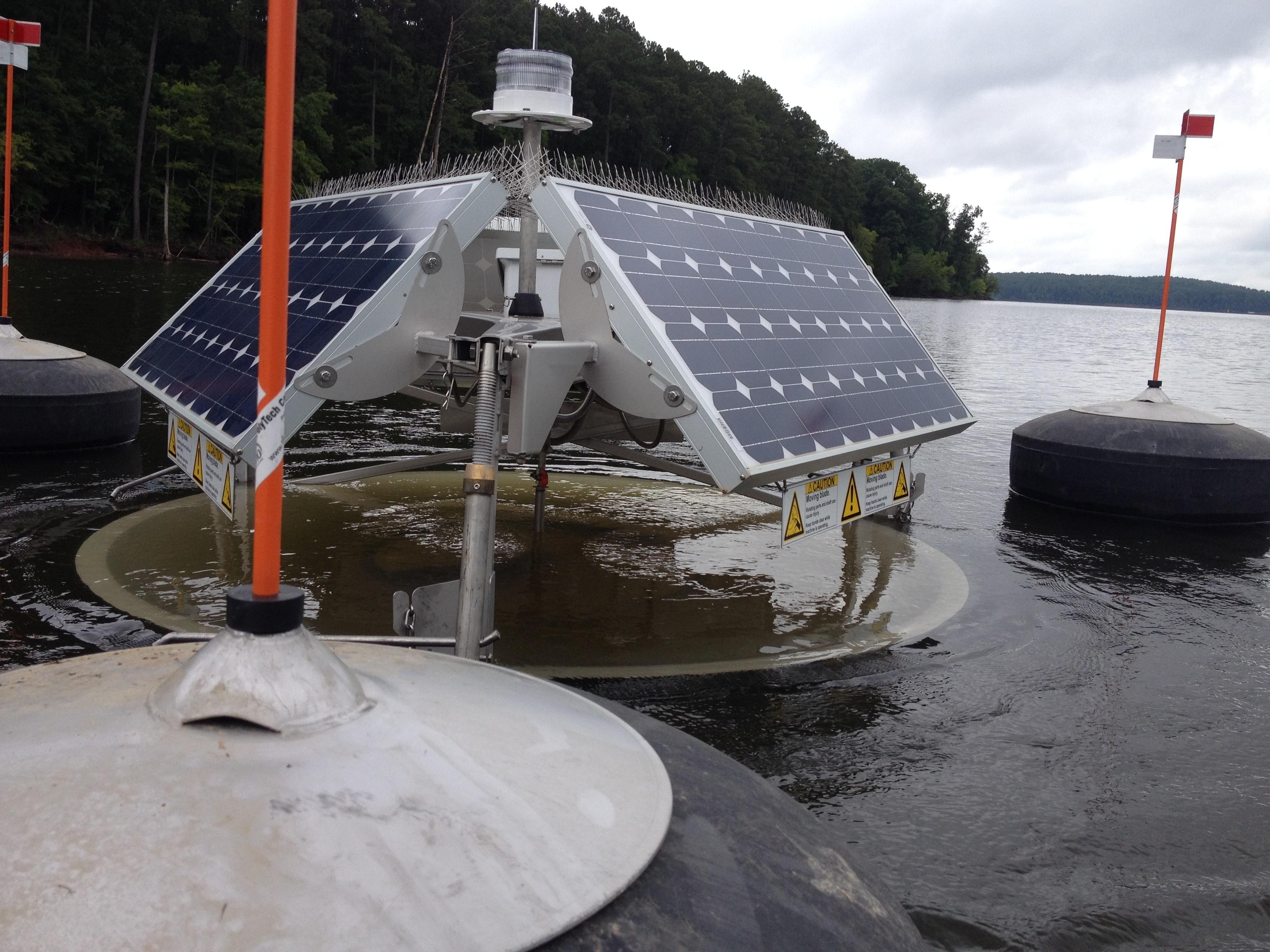 Solar Bees were used unsuccessfully in Jordan Lake to prevent algae blooms. Photo: Duke University