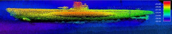 A sonar image of the German submarine U-576. Image: NOAA & SRI International