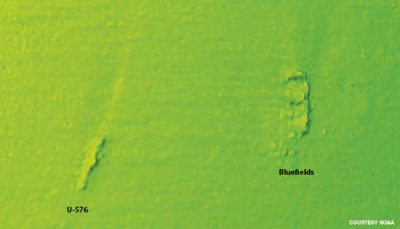 a multi-beam sonar image of the battlefield remains. Photo: NOAA