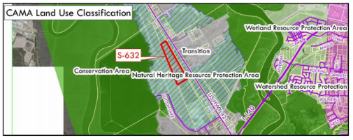 The proposed sand mine property is classified as Natural Heritage Resource Protection by the county's 2006 CAMA Land Use Plan. These are areas identified by the North Carolina Natural Heritage Program as generally unique habitats that warrant special attention and protection. Map: New Hanover County Planning