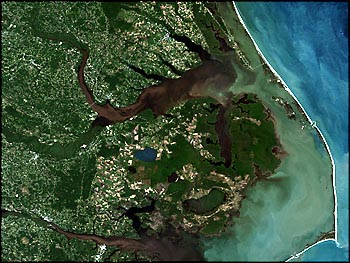 In 1999 following Hurricane Floyd, the state's estuaries were flooded with fertilizers, animal waste and sediments. Photo: NASA Goddard Space Flight Center