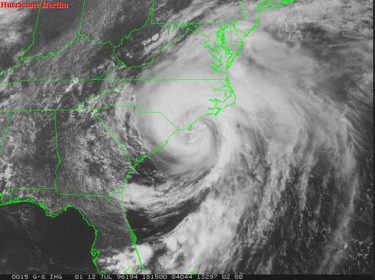 Hurricane Bertha came ashore on July 12, 1996. It was the first significant storm to hit the area since Hurricane Diana in 1984. Photo: National Hurricane Center
