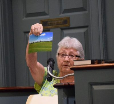 Jean Norville, a resident who lives near the proposed solar site in Trenton, shares photos of a solar farm near Kinston during a public hearing. She expressed worry about potential aesthetic, health and environmental effects of solar installments. Photo: Ashita Gona.