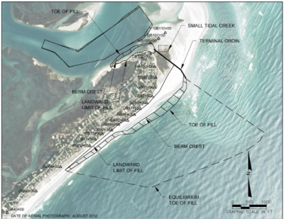 The homeowners associations preferred alternative for a terminal groin is shown superimposed over a 2012 photo of shore conditions. Photo: Army Corps of Engineers