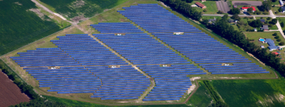 A 6.5-megawatt solar farm in Kinston, Lenoir County developed by Strata Solar. Photo from stratasolar.com.
