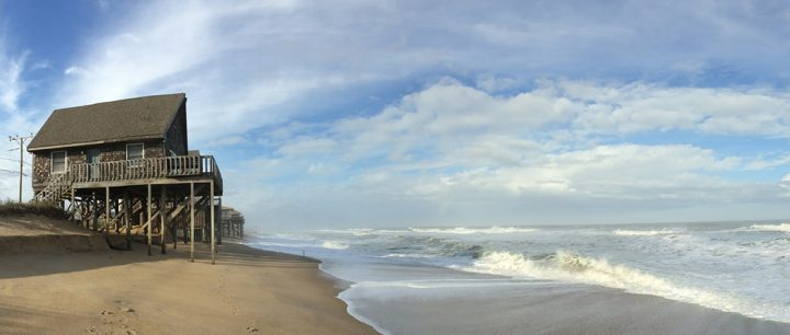 High tide at Kitty Hawk, showing beach erosion. Photo: Dare County