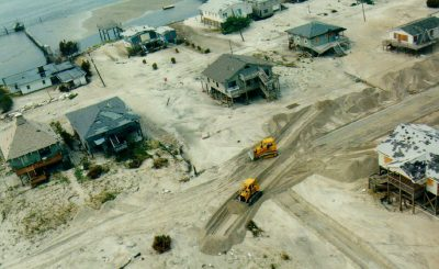 The storm covered nearly all of Topsail Island's roads covered with sand. Photo: North Carolina Division of Marine Fisheries