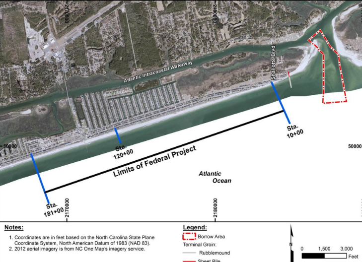 This map of Ocean Isle Beach shows the limits of the federal re-nourishment project, the area of the inlet from where sand would be mined and the proposed terminal groin. Map: Army Corps of Engineers