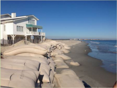 Sandbags are shown at a house on the eastern portion of Ocean Isle Beach in this image from Oct. 23, 2013. Photo: Army Corps of Engineers