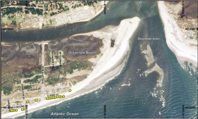 Shown are the location of houses protected with sandbags on the east end of Ocean Isle Beach. Photo: Army Corps of Engineers
