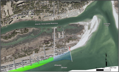 The proposed terminal groin is shown with the areas of federal beach re-nourishment, in green, and beach fill associated with the groin construction, shown in the blue crosshatched area. Image: Army Corps of Engineers