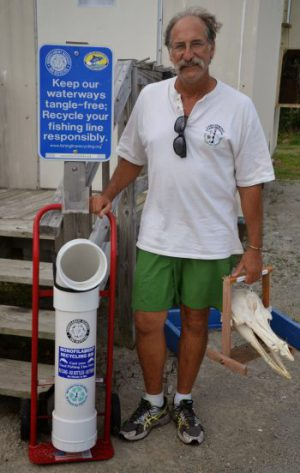 Keith Rittmaster and volunteers placed 42 of these receptacles along the coast to collect unused fishing line. Photo: Keith Rittmaster